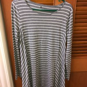 Macy's Grey Stripped Long-Sleeve Dress